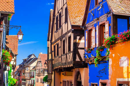 fachwerk: Traditional colorful houses in Alsace,Riquewihr,France.