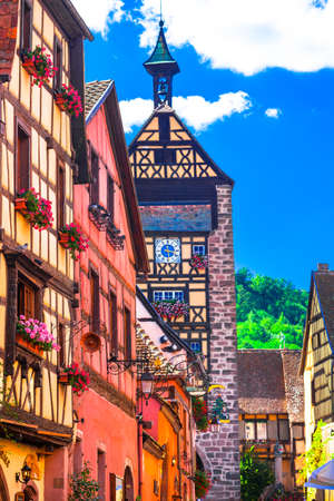 wine road: Beautiful Riquewihr village,Traditional multicolored houses,Alsace,France.