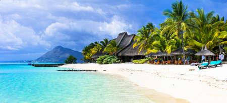 Tropical paradise in Mauritius island.Beautiful beach and azure sea.