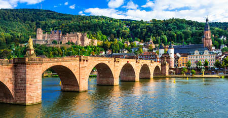 Panoramic view of Heidelberg town,old bridge and houses,Germany. Banco de Imagens