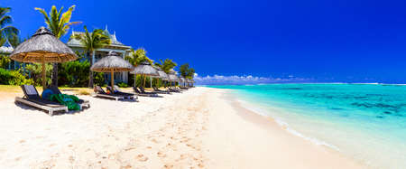 Beautiful beach in Mauritius island,white sand and azure sea.