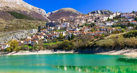 Beautiful Barrea village,lake mountains and houses,Abruzzo,Italy.