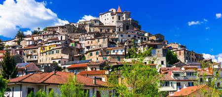 Beautiful Ceccano village,view with houses and castle,Lazio,Italy. Stock Photo