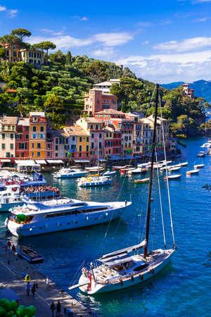 popular: Panoramic view of Portofino village,Italy. Stock Photo