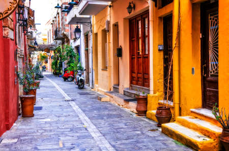 Old streets of Greece,Rethymno town,Crete island. Stock Photo