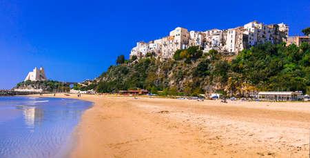 Beautiful Sperlonga village,panoramic view with sea and beach,Lazio,Italy.