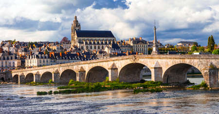 Impressive Blois town, Loire valley, view with old bridge and historic building, France. Stock Photo
