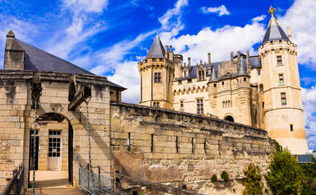 Elegant Saumur castle, Loire valley, France.