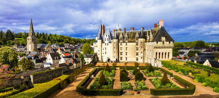 Magnificent Langeais castle, panoramic view with gardens, Loire valley, France.
