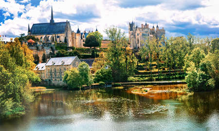 Beautiful Mountreuil -Bellay village, Loire valley, France.