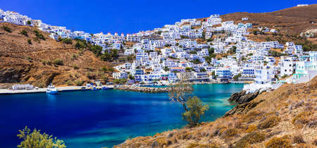 Traditional Greece, Astypalea island, panoramic view with houses and sea.