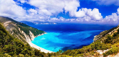island: Beautiful Myrtos beach, panoramic view with azure sea and mountains, Kefalonia island, Greece. Stock Photo