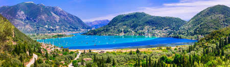 Panoramic view of Nydri village, Sea and mountains.Lefkada island, Greece.