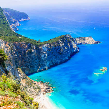 Impressive Porto Katsiki beach, Lefkada island, Greece. Stock Photo