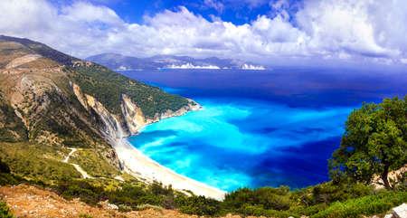 ionian: Incredible nature in Myrtos Bay, Kefalonia island, Greece.Panoramic view. Stock Photo
