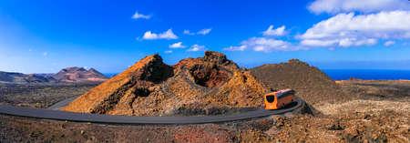 Impressive Timinfaya National Park, volcanic landcsape, Lanzarote island, Canary, Spain.