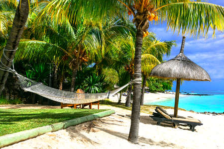 Tropical paradise in Mauritius island, beautiful beach. Stock Photo