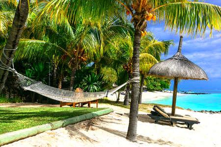 Tropical paradise in Mauritius island, beautiful beach. Zdjęcie Seryjne