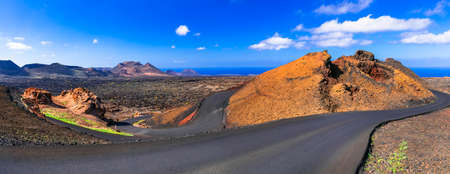 Impressive volcanic landscape in Lanzarote island, Canary, Spain. Stock Photo