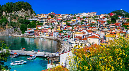 mediterranian houses: Traditional colored houses and sea in Parga village, Greece.