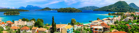 Panoramic view of Nidry village, Lefkada Island, Greece.