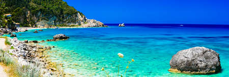 Beautiful Lefkada island, Agios Nikitas beach, Greece. Stock Photo