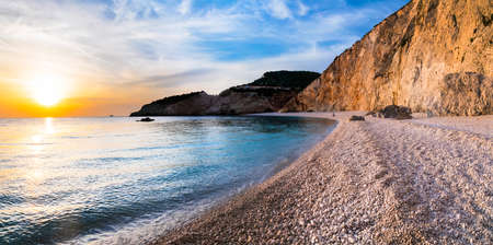Beautiful Porto Katsiki beach over sunset, Lefkada island, Greece.
