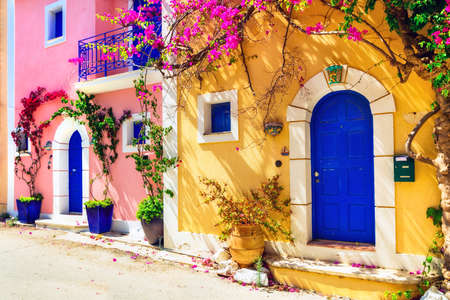 picturesque: Old Streets of Greece, Assos village, Kefalonia island.
