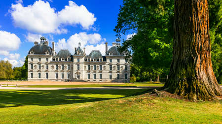 Impressive Cheverny castle, panoramic view with gardens, France. Stock Photo