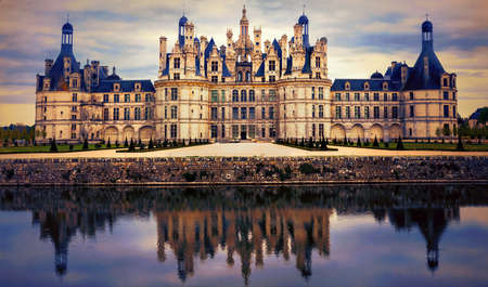 Magnificent historic monument over sunset, Chambord, Loire valley, France