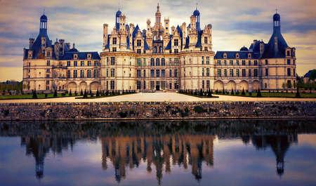 일몰, 샹 보르, 루 아르 계곡, 프랑스 웅대 한 역사적인 기념물 스톡 콘텐츠