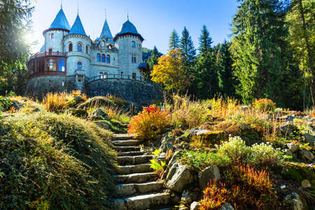 Beautiful Savoia castle, Valle d Aosta, North Italy.