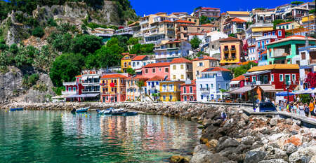 Multicolored Parga village, traditional houses and sea, Greece. Stockfoto