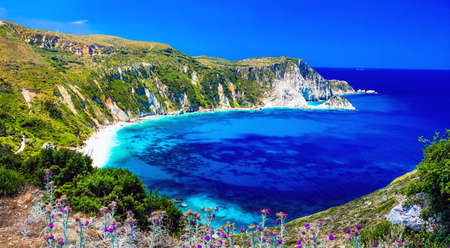 Beautiful Petani beach, Kefalonia island, Azure sea and mountains, Greece.