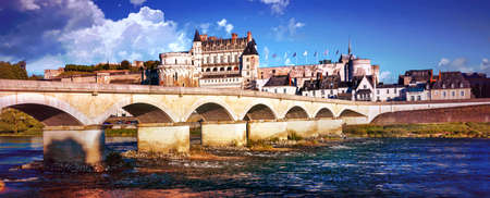 Impressive Amboise old town, view with bridge and historic building, Loire valley, France. Stock Photo
