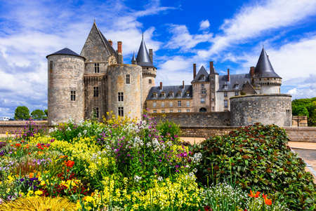 Beautiful Sully sur Loire old medieval fortress, panoramic view, France.