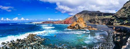 美しいランサローテ島ビーチ、火山の風景、カナリア、スペイン。