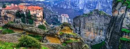 Impressive Meteora monasteries, panoramic view, Greece.