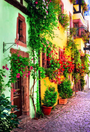 Old streets of France, Colmar town, Alsace region. Stock Photo