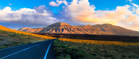 Volcanic landscape in Lanzarote island, Canary, Spain. Stock Photo
