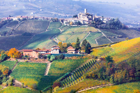 Beautiful Barolo village, panoramic view, Italy. Banque d'images