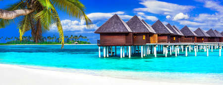 Tropical luxury relax on Maldives island. Stock Photo