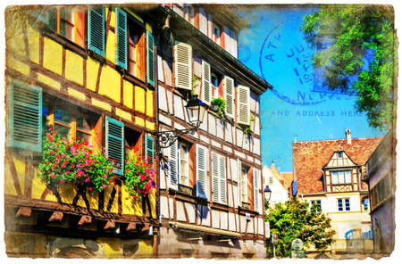 Traditional multicolored houses in Colmar town, Alsace, France.