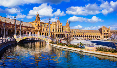 Landmarks of Spain, Plaza Espana, Sevilla, panoramic view. Фото со стока