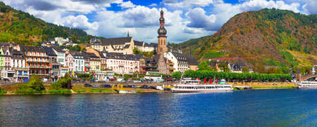 Panoramic view of Cochem town, cruise over river Rhine, Germany.