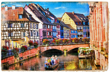 the little venice: Panoramic view of Colmar town, Alsace, France.