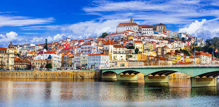 Beautiful Coimbra town, panoramic view, Portugal. 免版税图像