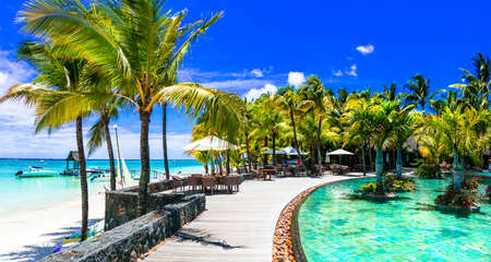 Tropical paradise in Mauritius island, Luxury relax.