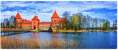 Beautiful Trakai castle, Panoramic view, Lithuania, Europe.