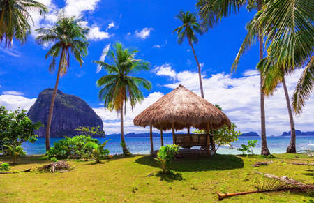 Tropical relaxation in the Philippines Island, view with bungalow, palm tree and rocks. Stock Photo